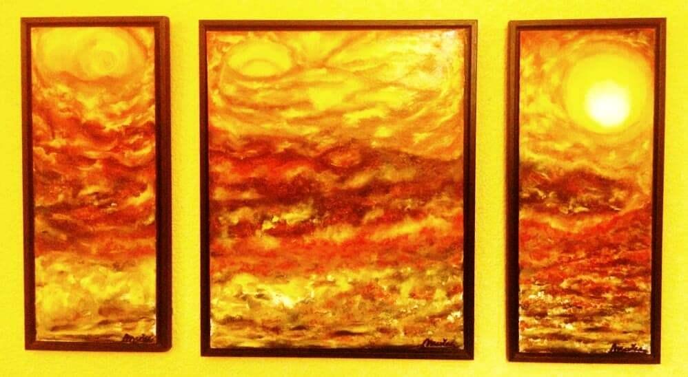 Fuego 6. Óleo sobre tabla 2 x(20x50), 40x50 cm