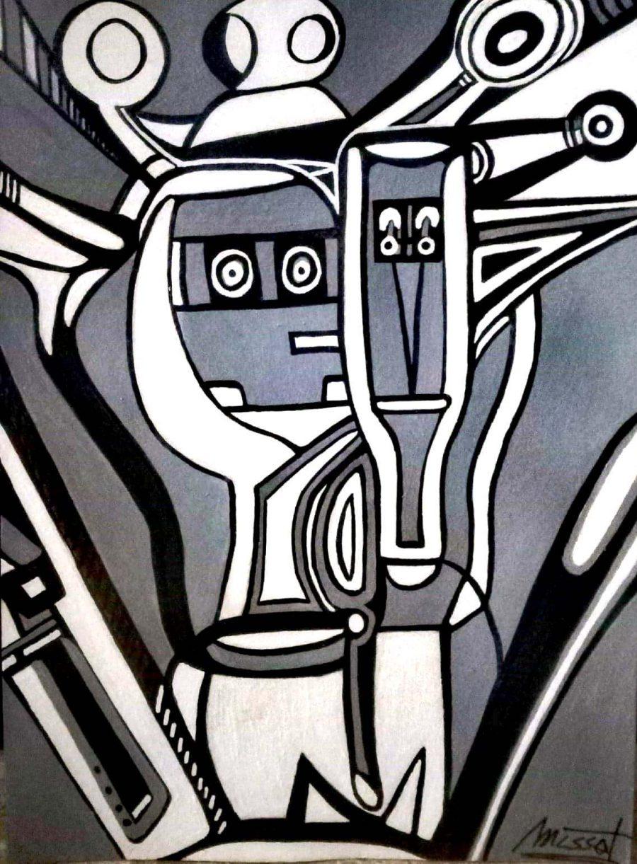 Massorobot Vigilantes 5. Técnica mixta sobre cartón pluma. 37x52 cm
