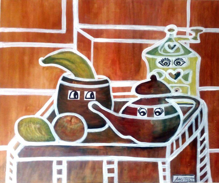 Mesa mágica 8. Técnica mixta sobre lienzo 55x46 cm