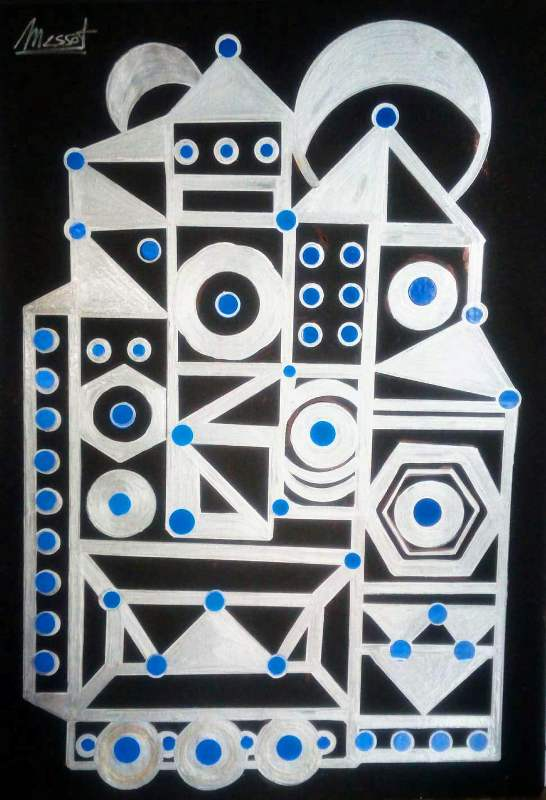 Palacio K2B 7. dpAcrílico sobre cartón pluma autoadhesivo. DISEÑO BÁSICO 50x70 cm