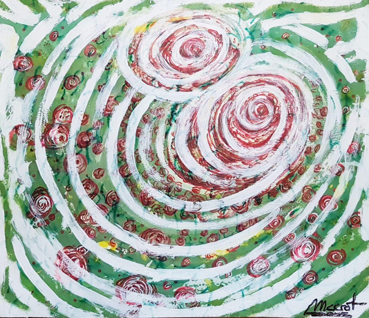 Rosas nacientes 10. Acrílico sobre cartón pluma. 38x32,5cm