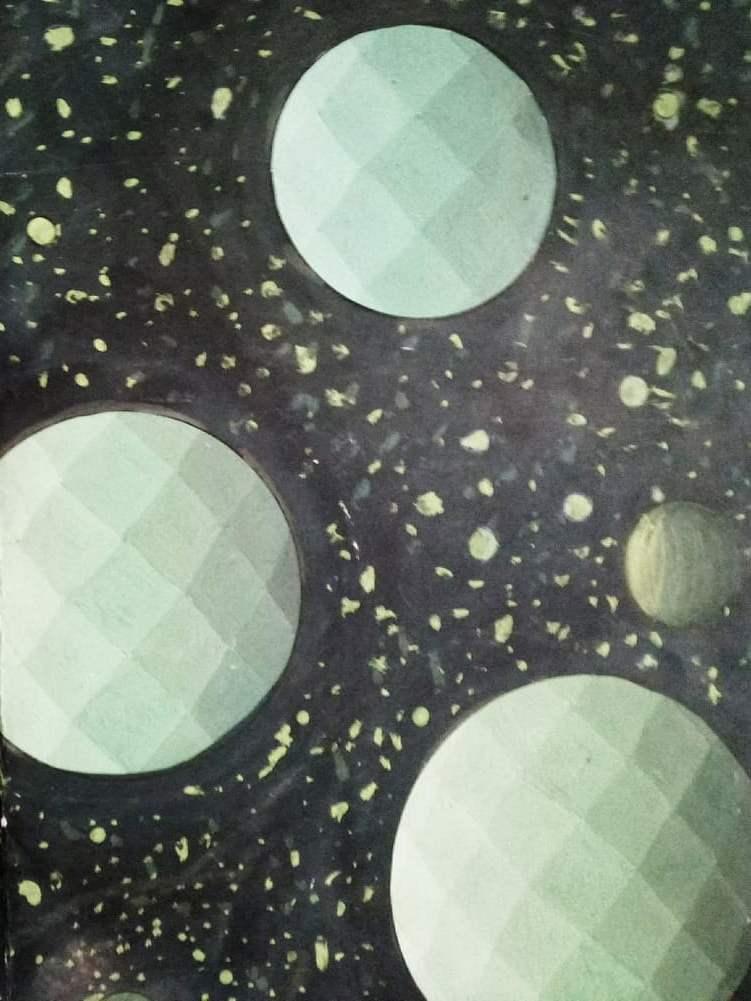 Cosmos robótico 2. Acrílico sobre cartón pluma. 30x40 cm