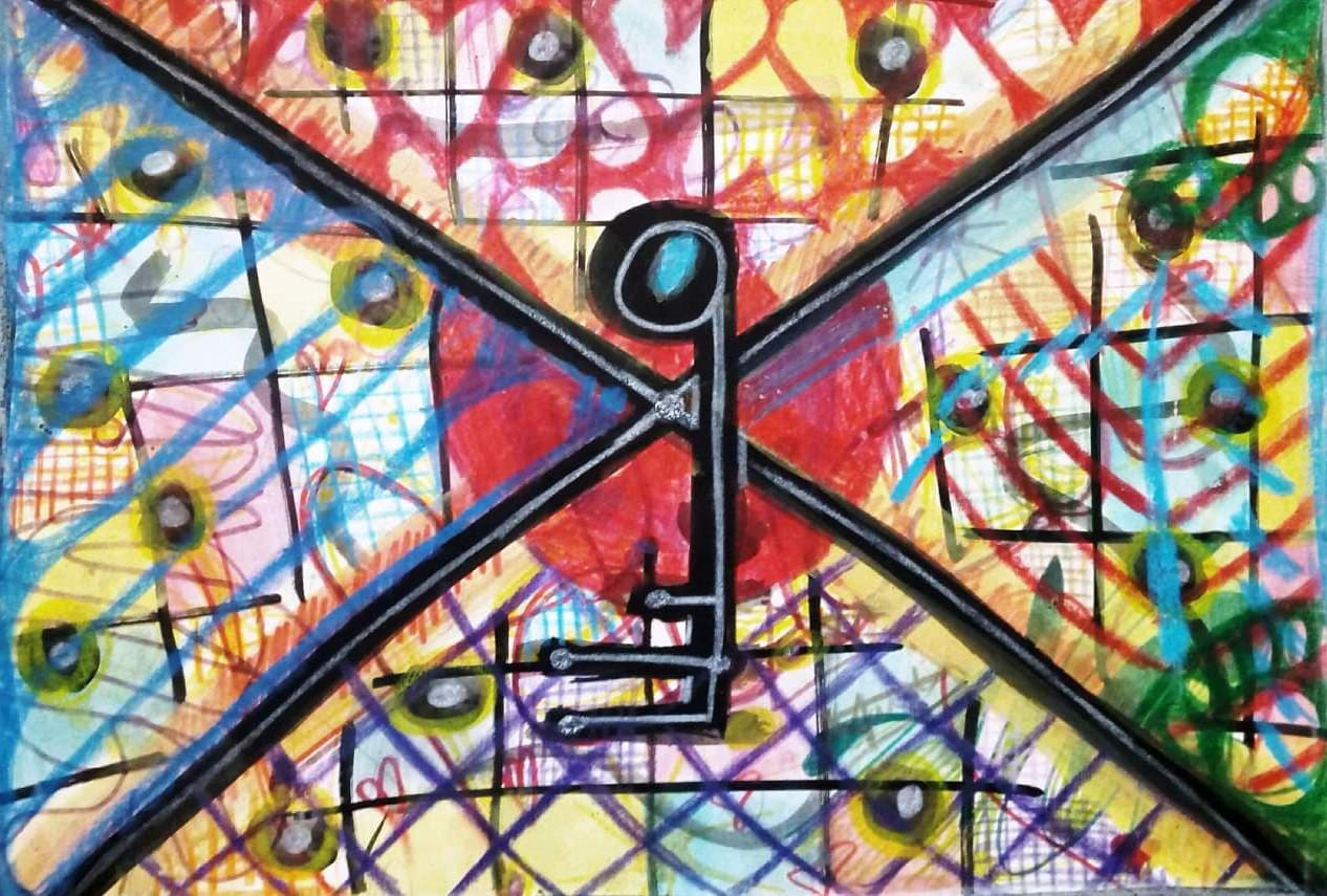 La llave mágica. Acrílico sobre cartón pluma. 40x30 cm